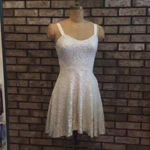 Free People Gold & White Lace Prom Dress